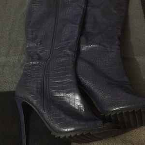 Shoes - Bold Blue Faux Croc Tall Boots 👢 with zipper